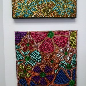 Acrylic Painted Art Dotting Canvas